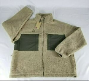 Nike ACG MicroFleece Sherpa Full Zip Jacket Men's Size L Khaki CT2949-247 NEW!