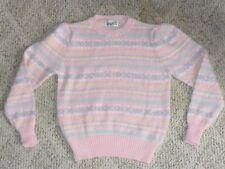 Vintage 80's Pink Pastel Stripe Design Puff Shoulder Sweater M Fairy Kei
