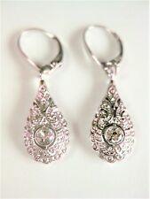 Art Deco Ohrringe Weißgold 585 mit Diamanten, 2,98 g
