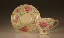 Early Foley Handpainted Pink Floral  Cup and Saucer