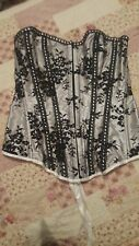 Boned Corset White with Black lace Size Small