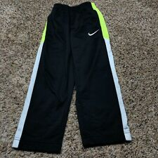Nike Therma-Fit Boys Size 4 Sports Athletic Sweat Pants Black Gray Neon Green