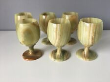 Set of 6 Green Onyx Goblets - Good Condition