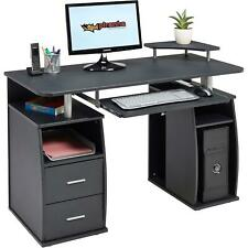 Computer Desk Black Table Home Office Laptop Compact w/ Monitor&Printer & Drawer