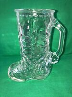 Vintage 16 oz. Clear Glass Western Cowboy Boot Beer Mug Made in Mexico 6.5""