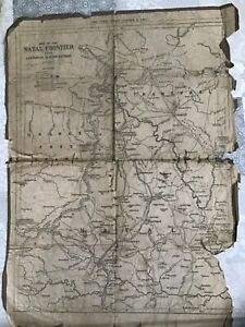 Antique USA Map 1899  Of The Natal Frontier Ladysmith To Charlestown,23 x17in