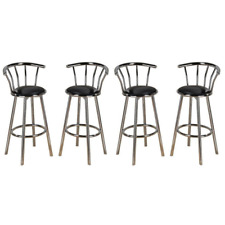 New Indoor Set of 4 Chrome Swivel Black Vinyl Seat Pub Bar Stools Chair Barstool