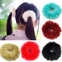 2 Stück Warme Weiche Kaninchenfell Ball Frauen Elastische Haarband Heißer Ksy