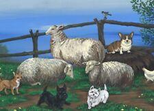 ACEO PRINT OF PAINTING RYTA SCOTTIE CHIHUAHUA LANDSCAPE CORGI SHEEP FARM WESTIE
