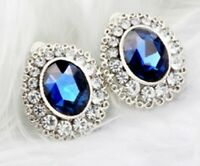 Silver Plated Blue Crystal Rhinestone Clip On Earrings Diamante Non Pierced E37