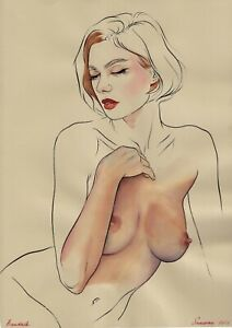 original drawing A3 99BK art samovar Surrealism watercolor female nude Signed