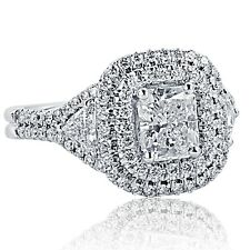 GIA Certified 2.19 Carat Radiant Cut Trillion Diamond Engagement Ring 18k Gold