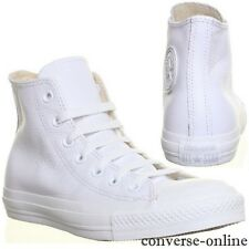 Men CONVERSE All Star WHITE MONO LEATHER HI TOP CHUCKS Trainers Boots UK SIZE 12