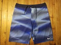 Men's Swim Trunks Board Shorts Size 32 M By Nike Blue/Black (No Lining)