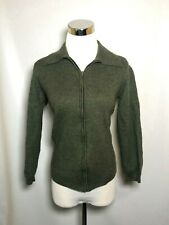 Metropolitan by Lord & Taylor S Small Women's Sweater Olive Merino Wool Zipper