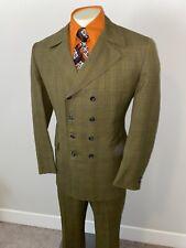 Vtg 50s 60s Two Piece Suit Mens 44 Jacket 37 29 Pants Mid Century Olive Plaid