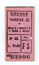 BIGLIETTO FERROVIARIO  EDMONSON    VARESE  MILANO C   E  BOVISA   15-5-1945