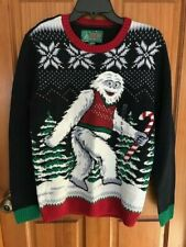 New men's s small Abominable snowman yeti sweater ugly Christmas holiday navy