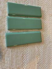 Vintage Mid-Century Modern GREEN Bullnose Ceramic Tile 13 Pieces