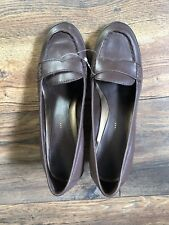 NINE & Company MEZMORIZ Brown Leather Block Heel Loafer Pumps Women's Size 6M