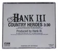 HANK WILLIAMS III Country Heroes PROMO SINGLE CD 2006 Curb Records FREE SHIPPING
