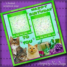 Birthday Themed Scrapbook Page-  Singing Cats  - Handcrafted Art