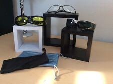 Lot Of 3 Riding Glasses/(Metaliks Gray) Black W/Yellow Lenses & Gunmetal Clear