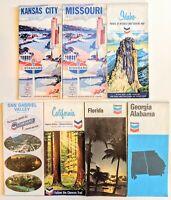 7 Vintage Chevron & Standard Oil road maps 6 states, 1962-77