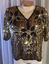 Lady Gold Black XL Silk Top Blouse Sequin Sequins Lined 14 16 Woman Beaded Beads
