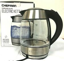 Chefman Electric Cordless Glass Tea Kettle with Tea Infuser 1.8 L - 9G_08