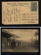 Belgian Congo postal card  train station  1923          MS0122