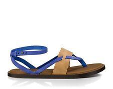 NEW sanuk 7.5 8 39 SANDAL FLIP FLOP SHOE LEATHER Blue Tan Yoga Serena