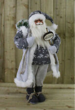 3FT Luxury Grey & White FreeStanding Nordic Father Christmas Santa Claus Doll