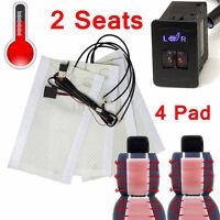 UK 2 seat 4Pad Universal dial Switch Carbon fiber Heated Seat Heater Kit 5-Level