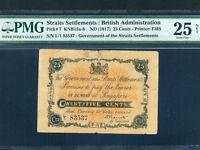 Straits Settlements/Singapore:P-7,25 Cents,1917 * RARE * PMG VF 25 NET *