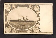 REAL-PHOTO PC with FLORAL BORDERS: HMS ROYAL SOVEREIGN - BRITISH NAVY BATTLESHIP