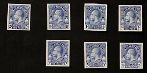 Turks + Caicos Cat- 25-9, George V Trial Color Proofs on Cards VF