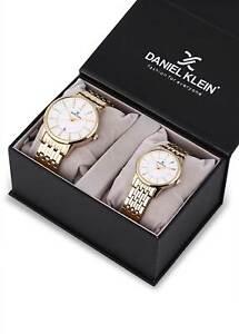Daniel Klein His & Her Watch Couples Gift Set Men & Women Gold Tone SS Watch