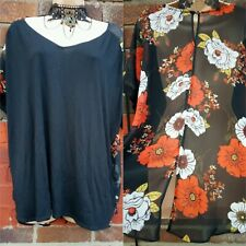 Ladies Black top Floral sheer back Size 20 Blouse Party Evening Work hi low