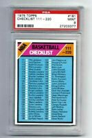 MINT 1975 Topps Basketball #181 NBA Checklist 111-220 graded PSA 9.