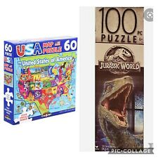 New Lot 2 Puzzles Educational USA Map 60 Pieces State w/ Capitals 100 Dinosaur