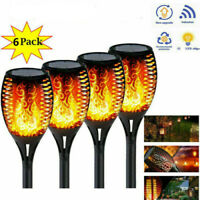 6X Solarleuchte Fackel 12 LED Licht Tanzen Flackernde Flamme Lampe Garten Dekor