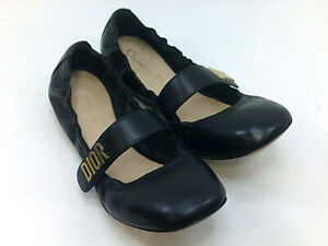 Christian Dior Womens diotr Leather Closed Toe Ballet Flats, Black, Size 6.5 Ypk