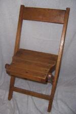 ANTIQUE Vintage OAK WOOD Folding CHILDS CHAIR Slatted Seat AKRON BAPTIST TEMPLE