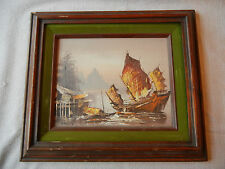 Chinese (Junk) Ship Original Framed Oil Painting Signed H. Henry