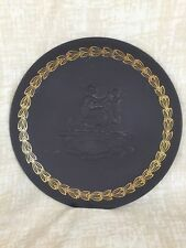 wedgwood jasperware black plate MOTHER & cherub, gold border