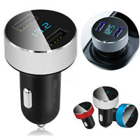 Dual Ports 3.1A USB Car Cigarette Charger Lighter 12V/24V Digital LED Display TK