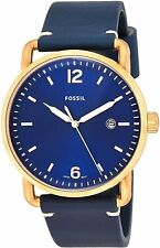 Fossil Men's The Commuter FS5274 42mm Blue Dial Leather Watch