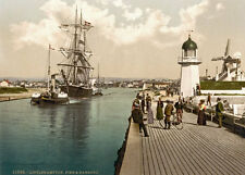 "PS14 Vintage 1890's Photochrom Photo - Harbour Littlehampton - Print A3 17""x12"""