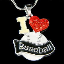 w Swarovski Crystal ~I Love Baseball~ Softball Mom Red Heart SportsTeam Necklace